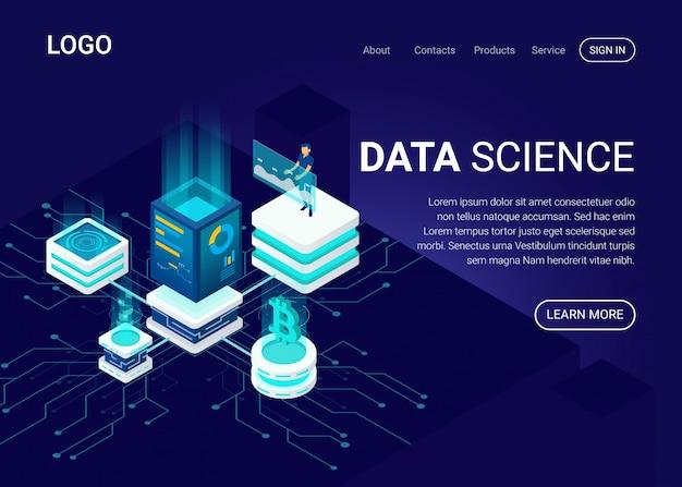 Pagina di destinazione o modello web con il concetto di scienza dei dati