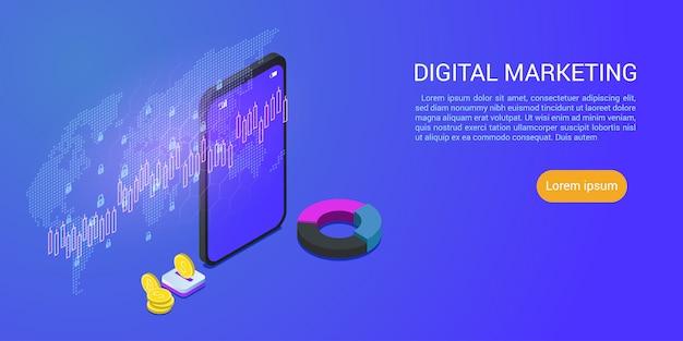 Pagina di destinazione o modello web con il concetto isometrico di progettazione moderna dell'affare di vendita digitale