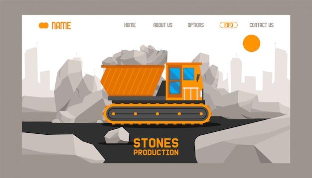 Pagina di destinazione o modello web con illustrazione della produzione di pietre da costruzione