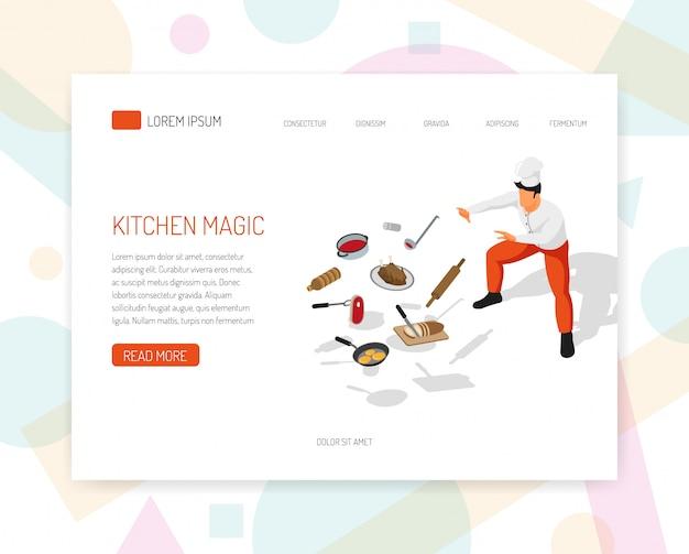 Pagina di destinazione o modello web con la preparazione isometrica professionale del cuoco che prepara l'illustrazione isometrica di vettore di progettazione della pagina web di concetto di aspetti della cucina di arte di arte culinaria