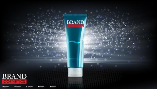 Pagina di destinazione o modello web con prodotti cosmetici