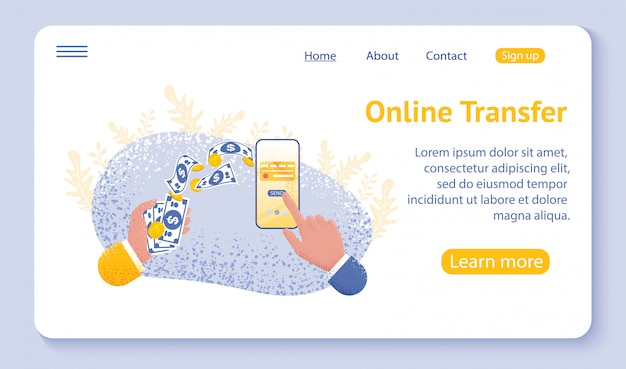 Pagina di destinazione o modello web per il concetto di trasferimento online con lo smartphone della tenuta della mano e premi il tasto di invio