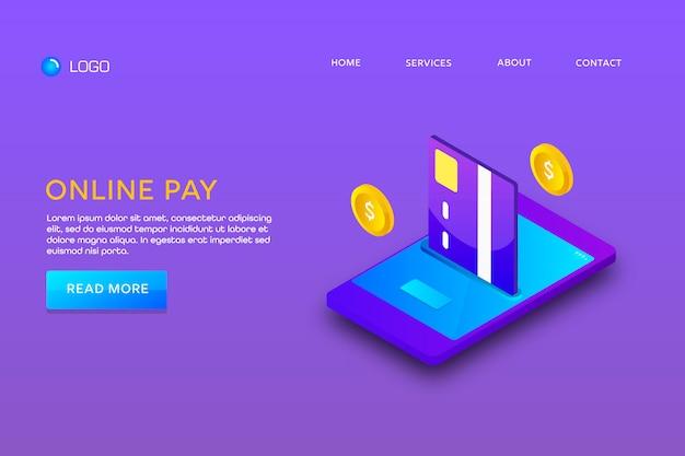 Pagina di destinazione o progettazione di modelli web. pagamento online