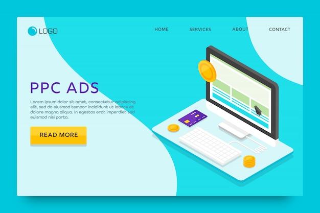 Pagina di destinazione o progettazione di modelli web. pubblicità ppc