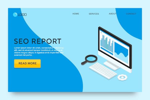 Pagina di destinazione o progettazione di modelli web. relazione seo