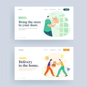 Pagina di destinazione o web banner design per portare il negozio a casa tua e consegna a domicilio.