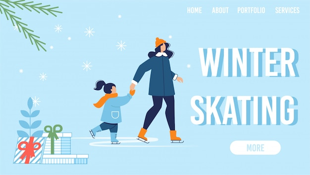 Pagina di destinazione offerta pattinaggio invernale sotto nevicate