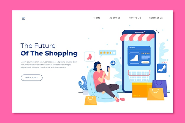 Pagina di destinazione online per lo shopping futuristico