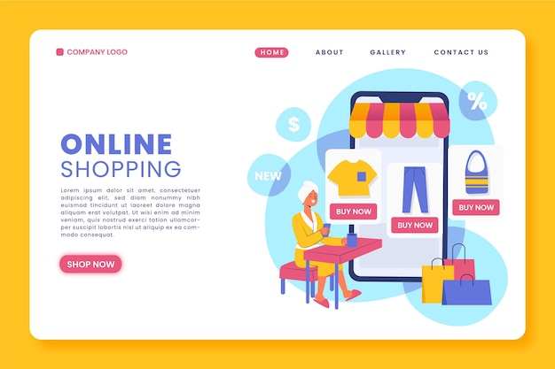 Pagina di destinazione online per lo shopping piatto