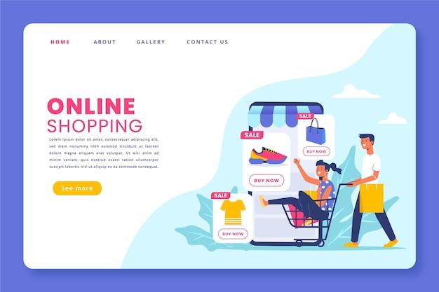Pagina di destinazione online shopping design piatto