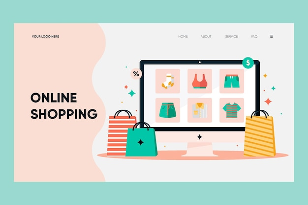 Pagina di destinazione online shopping design piatto