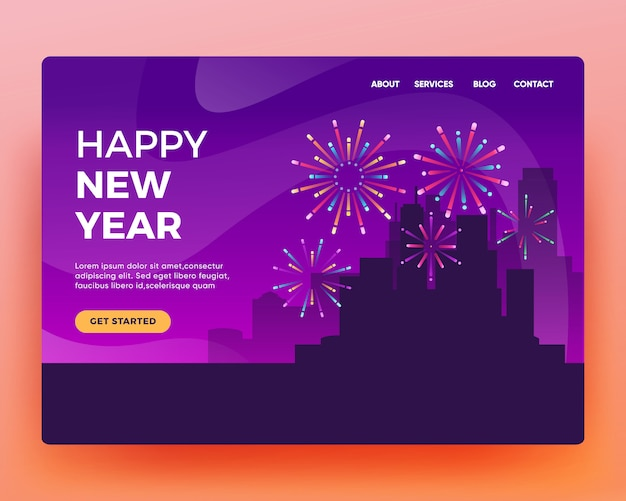 Pagina di destinazione pagina di destinazione della celebrazione del nuovo anno