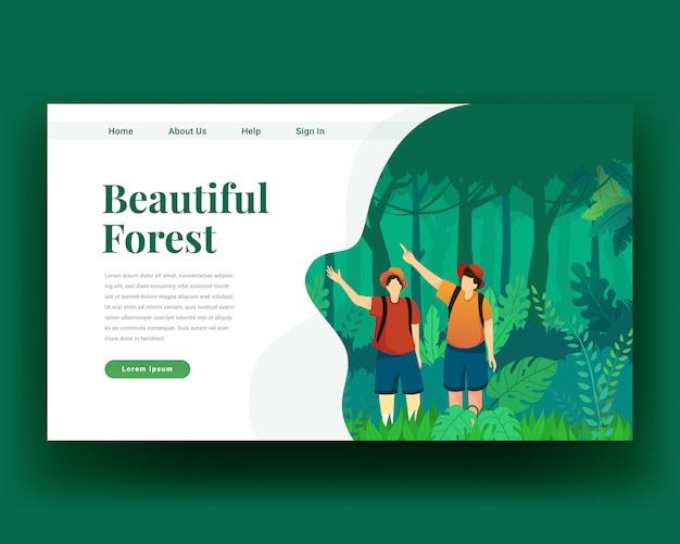 Pagina di destinazione pagina di destinazione di due personaggi a piedi nella foresta con zaino