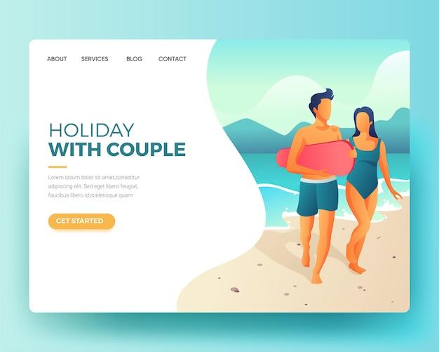 Pagina di destinazione pagina di destinazione di una vacanza sulla spiaggia