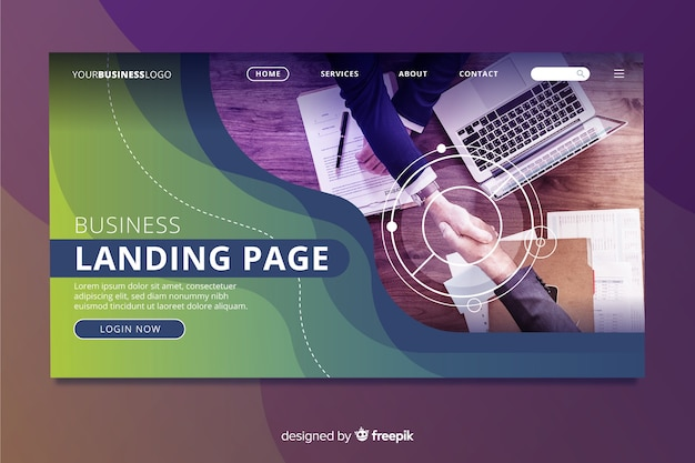 Pagina di destinazione per affari con foto