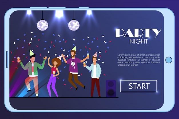Pagina di destinazione per app mobile con cartoon clubbers