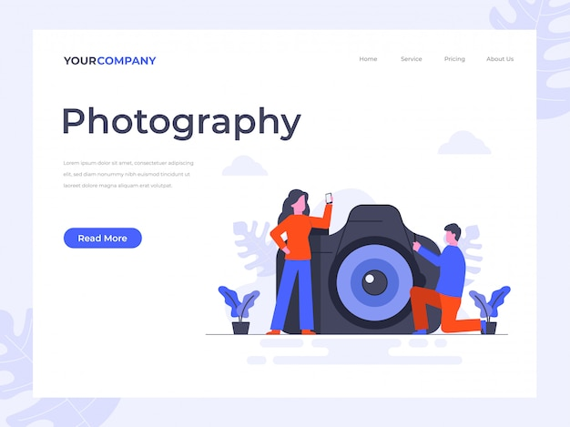 Pagina di destinazione per fotocamera e fotografia