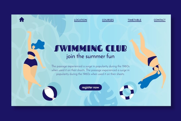Pagina di destinazione per il club di nuoto