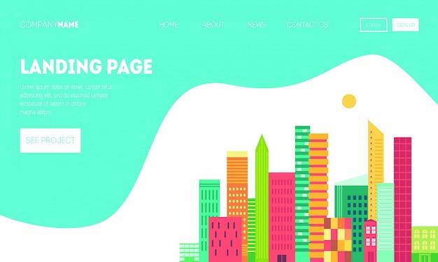 Pagina di destinazione per immobili o sito web di viaggi. paesaggio della città in stile geometrico piatto