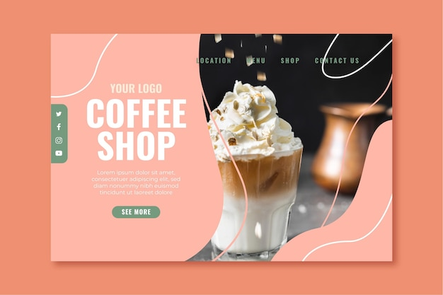 Pagina di destinazione per la caffetteria