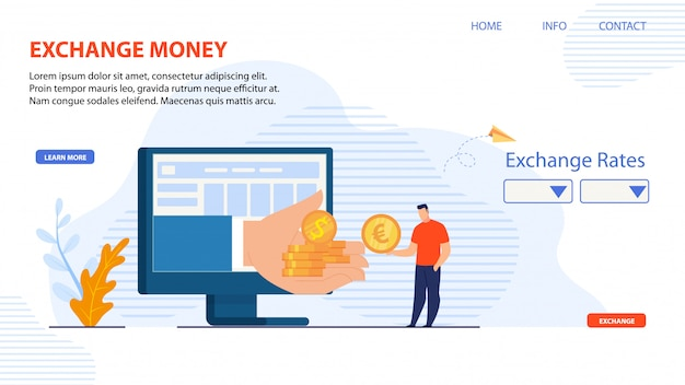 Pagina di destinazione per la piattaforma online exchange money