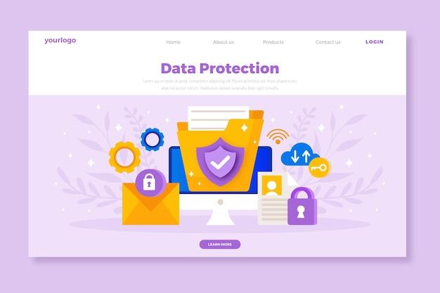 Pagina di destinazione per la protezione dei dati di design piatto