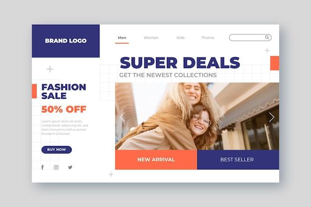 Pagina di destinazione per la vendita di moda