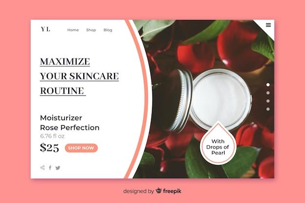Pagina di destinazione per la vendita ordinaria della cura della pelle