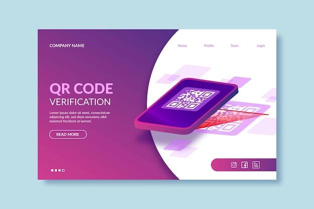 Pagina di destinazione per la verifica del codice qr
