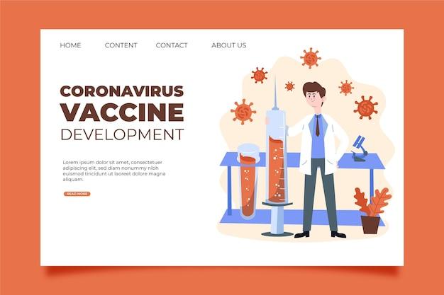 Pagina di destinazione per lo sviluppo della cura del vaccino contro il coronavirus