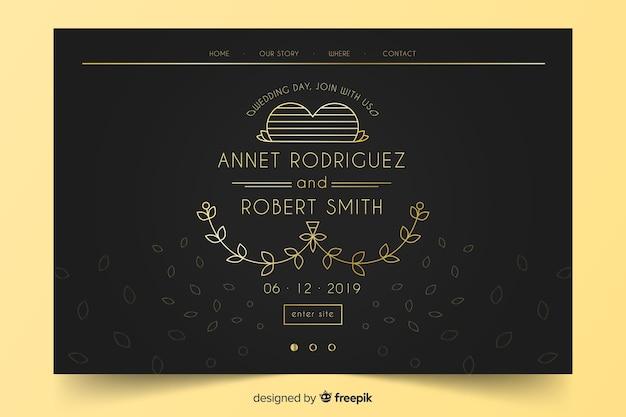 Pagina di destinazione per nozze in oro e nero