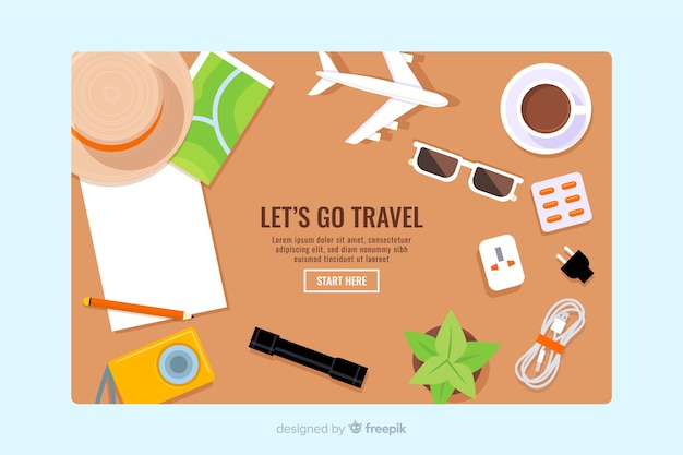 Pagina di destinazione per viaggi piatti
