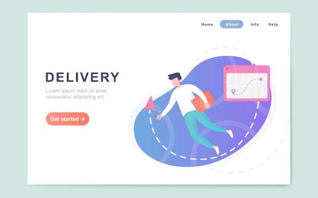 Pagina di destinazione piana moderna del servizio di consegna