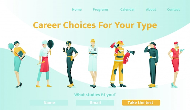 Pagina di destinazione piatta che offre aiuto nella scelta della carriera