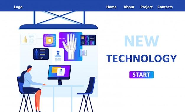 Pagina di destinazione piatta che propone una nuova tecnologia rfid