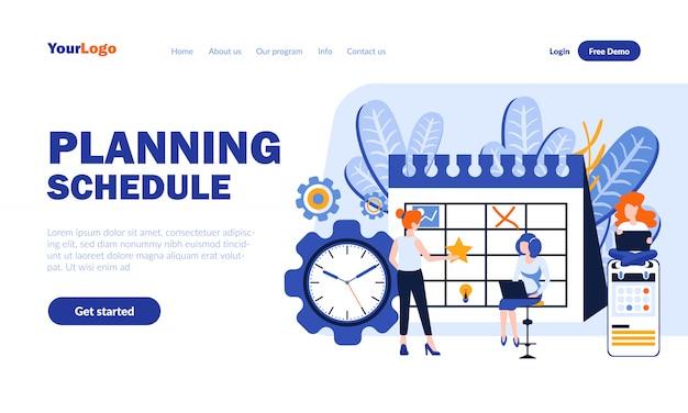Pagina di destinazione piatta con pianificazione