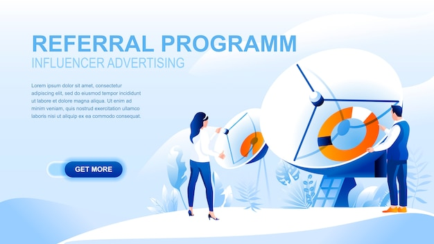 Pagina di destinazione piatta del programma di riferimento con intestazione, modello di banner.