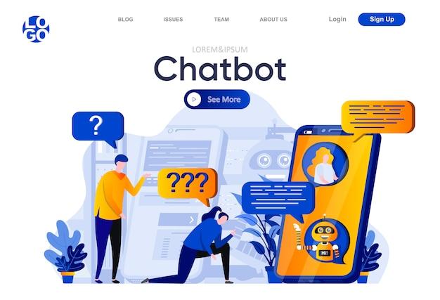 Pagina di destinazione piatta di chatbot. persone in chat con chatbot, illustrazione di servizio di assistenza virtuale. intelligenza artificiale, composizione di pagine web con tecnologia intelligente con personaggi di persone.