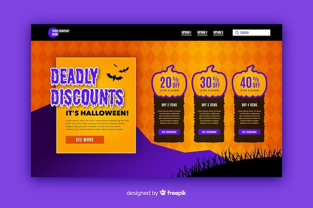 Pagina di destinazione piatta di halloween