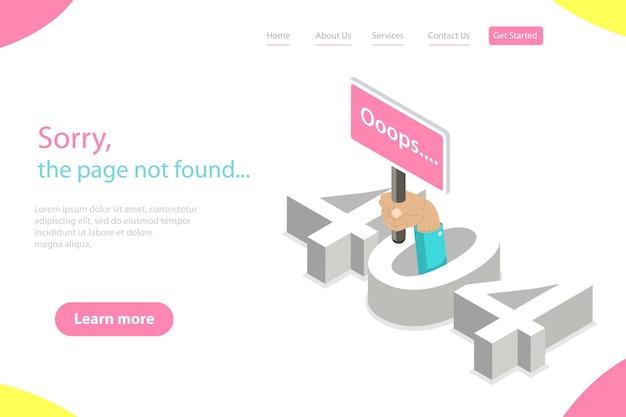 Pagina di destinazione piatta isometrica tempate di errore 404, pagina non trovata, perdita di connessione, pagina web in costruzione.
