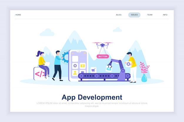 Pagina di destinazione piatta moderna per lo sviluppo di app