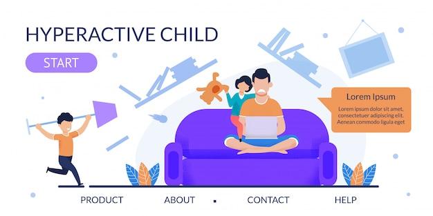 Pagina di destinazione piatta per assistenza con bambino iperattivo