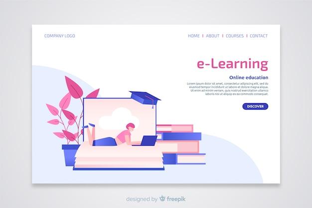 Pagina di destinazione piatta per il concetto di e-learning