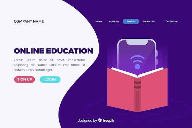 Pagina di destinazione piatta per l'educazione online