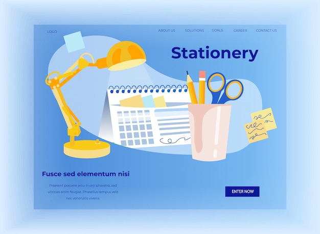 Pagina di destinazione piatta per negozio online di articoli di cancelleria per ufficio