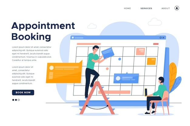 Pagina di destinazione prenotazione appuntamenti e persone che lavorano