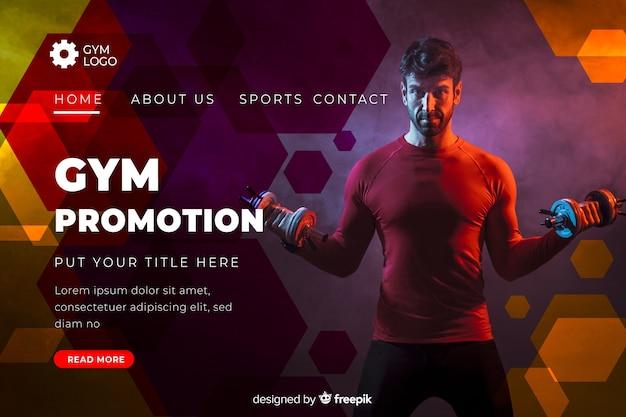 Pagina di destinazione promozione palestra con foto