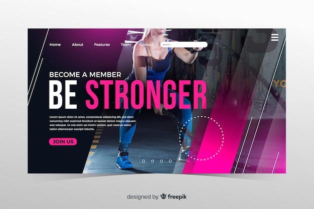 Pagina di destinazione promozione palestra con immagine