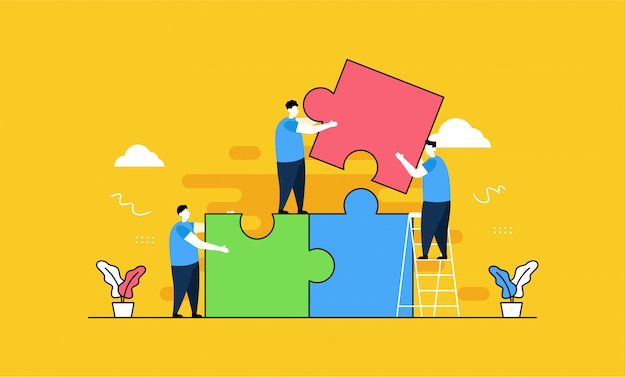 Pagina di destinazione puzzle teamwork