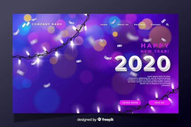 Pagina di destinazione realistica del nuovo anno